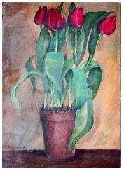 Blumengemälde von Fridel Dethleffs-Edelmann in der Kunstgalerie Dethleffs