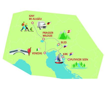 Route für die Wohnmobiltour durch Kroatien, Slowenien und Italien
