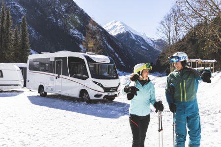 Mit dem Dethleffs Esprit Wohnmobil zum Skifahren